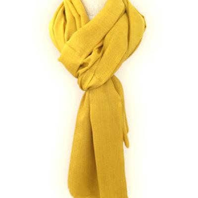 echarpe cachemire jaune moutarde