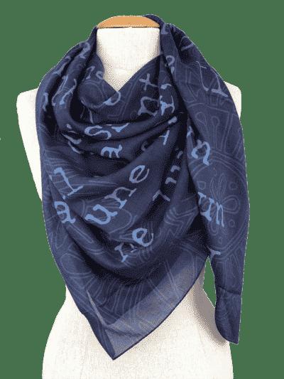carré indigo écharpe bleu